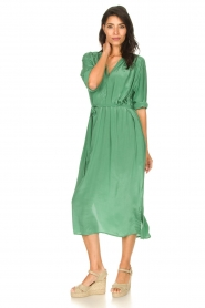 Rabens Saloner |  Midi dress with waistbelt Penny | green  | Picture 3