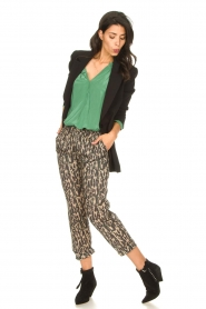 Rabens Saloner |  Cotton pants with print Lily | green  | Picture 3