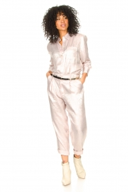 Rabens Saloner |  Shiny trousers Raina | pink  | Picture 2