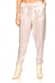 Rabens Saloner |  Shiny trousers Raina | pink  | Picture 5