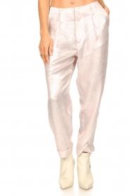 Rabens Saloner |  Shiny trousers Raina | pink  | Picture 4