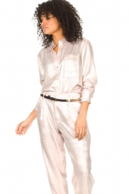 Rabens Saloner |  Shiny blouse Lia | pink  | Picture 5