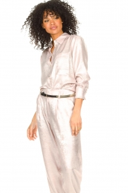 Rabens Saloner |  Shiny blouse Lia | pink  | Picture 4