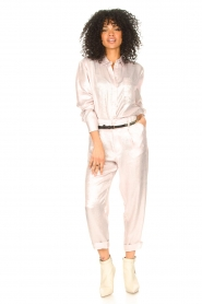 Rabens Saloner |  Shiny blouse Lia | pink  | Picture 3