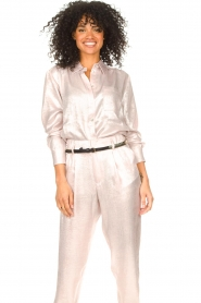 Rabens Saloner |  Shiny blouse Lia | pink  | Picture 2