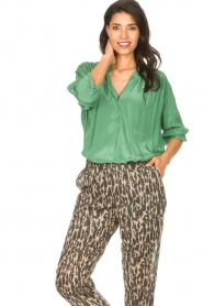 Rabens Saloner |  Oversized blouse Mag | green  | Picture 2