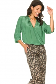 Rabens Saloner |  Oversized blouse Mag | green  | Picture 4