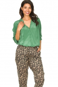 Rabens Saloner |  Oversized blouse Mag | green  | Picture 5