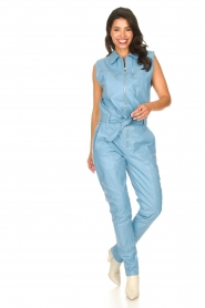 Ibana |  Lamb leather jumpsuit Otto | blue  | Picture 4