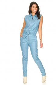 Ibana |  Lamb leather jumpsuit Otto | blue  | Picture 2