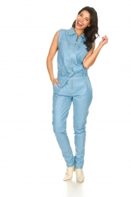 Ibana |  Lamb leather jumpsuit Otto | blue  | Picture 3