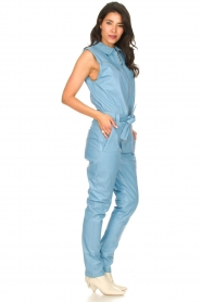 Ibana |  Lamb leather jumpsuit Otto | blue  | Picture 5