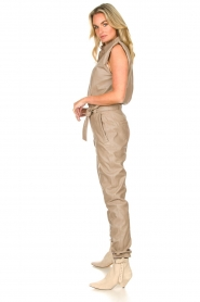 Ibana |  Lamb leather jumpsuit Otto | beige  | Picture 4
