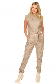 Ibana |  Lamb leather jumpsuit Otto | beige  | Picture 2