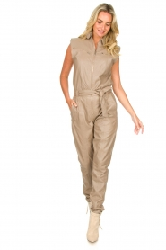Ibana |  Lamb leather jumpsuit Otto | beige  | Picture 3