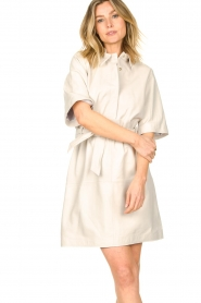 Ibana |  Lambs leather dress Danja | white  | Picture 5