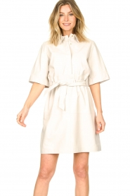 Ibana |  Lambs leather dress Danja | white  | Picture 6