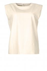 Ibana |  Leather top with shoulder padding Trixy | white