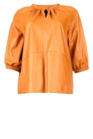 Ibana    Leather top with puff sleeves Tanja   cognac    Picture 1