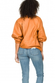 Ibana    Leather top with puff sleeves Tanja   cognac    Picture 6