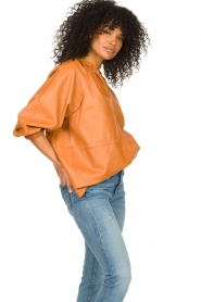 Ibana    Leather top with puff sleeves Tanja   cognac    Picture 5