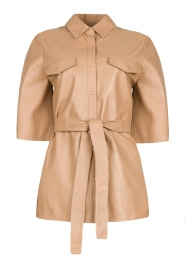 Dante 6 |  Leather blouse with tie belt Boho | natural  | Picture 1