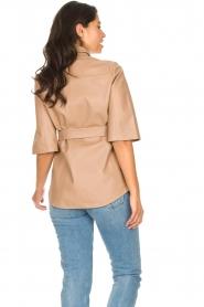 Dante 6 | Leren blouse met strikceintuur Boho | naturel   | Afbeelding 6