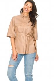 Dante 6 | Leren blouse met strikceintuur Boho | naturel   | Afbeelding 4
