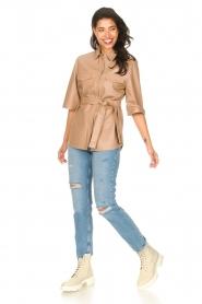 Dante 6 | Leren blouse met strikceintuur Boho | naturel   | Afbeelding 3