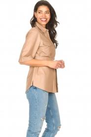 Dante 6 | Leren blouse met strikceintuur Boho | naturel   | Afbeelding 5