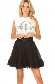 Sofie Schnoor |  Skirt with lace Lia | black  | Picture 4