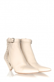Toral :  Leather ankle boots with buckle detail Ice | beige - img3