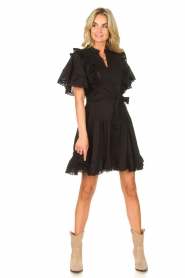 Sofie Schnoor |  Dress with bow tie Aneya | black  | Picture 3