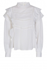 Sofie Schnoor |  Blouse with ruffles Liana | white  | Picture 1