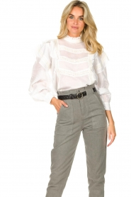 Sofie Schnoor |  Blouse with ruffles Liana | white  | Picture 2