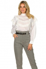 Sofie Schnoor |  Blouse with ruffles Liana | white  | Picture 5