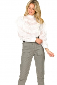 Sofie Schnoor |  Blouse with ruffles Liana | white  | Picture 4