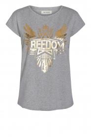 Sofie Schnoor |  T-shirt with golden imprint Sanne | grey  | Picture 1