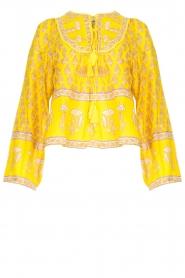 Antik Batik |  Cotton blouse with floral print Mori | yellow  | Picture 1