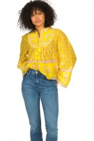 Antik Batik |  Cotton blouse with floral print Mori | yellow  | Picture 4