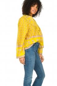 Antik Batik |  Cotton blouse with floral print Mori | yellow  | Picture 5
