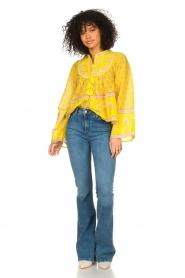 Antik Batik |  Cotton blouse with floral print Mori | yellow  | Picture 3