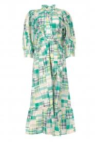 Antik Batik | Katoenen maxi-jurk Alama | groen  | Afbeelding 1