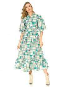 Antik Batik |  Cotton maxi dress Alama | green  | Picture 2