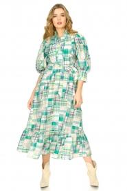 Antik Batik |  Cotton maxi dress Alama | green  | Picture 3