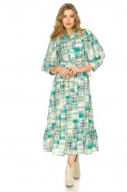 Antik Batik |  Cotton maxi dress Alama | green  | Picture 4