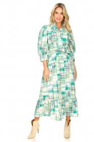 Antik Batik | Katoenen maxi-jurk Alama | groen  | Afbeelding 2