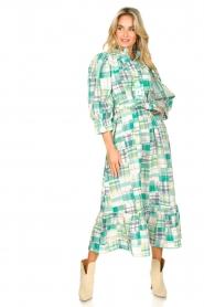 Antik Batik | Katoenen maxi-jurk Alama | groen  | Afbeelding 3