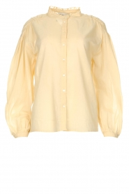 Antik Batik |  Cotton blouse with puff sleeves Olga | beige  | Picture 1