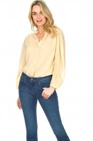 Antik Batik |  Cotton blouse with puff sleeves Olga | beige  | Picture 2